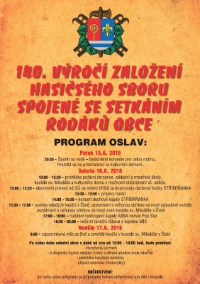 140th anniversary of the establishment of a voluntary fire brigade of the municipality inČistá